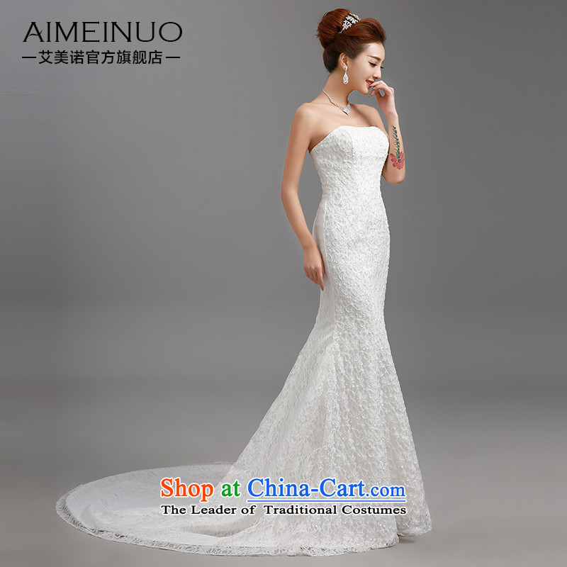 Hiv Miele Wedding 2015 new stylish wedding dresses strap small trailing Princess Sau San video lace anointed chest thin package and skirt H-84 crowsfoot White XL, HIV Miele shopping on the Internet has been pressed.