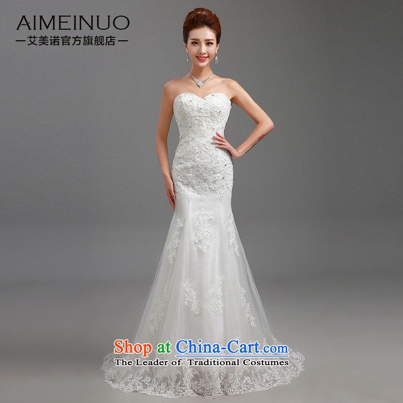 The HIV NEW 2015 wedding dresses Korean modern heart-shaped anointed chest lace small trailing package and marriages crowsfoot video thin winter H-85 White M