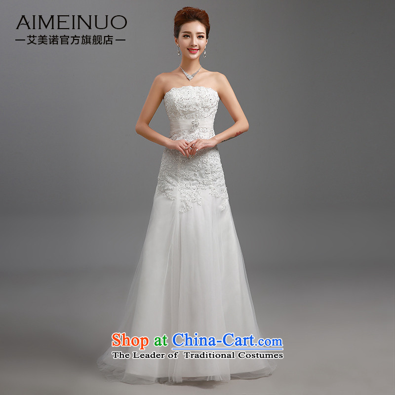 Hiv Miele wedding dresses 2015 new lace wiping the chest straps belt diamond Korean graphics package and Sau San thin princess yarn tail H-86 small White XL