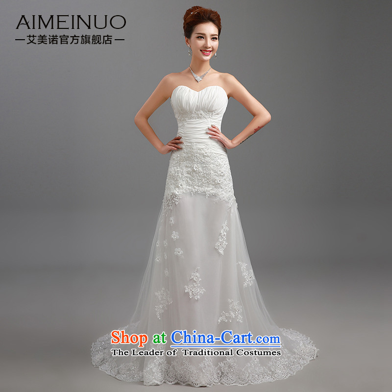 The HIV�2015 Spring/Summer new wedding wiping the chest straps lace spend small trailing bride thin shape of Sau San graphics package and public crowsfoot�H-87�White�M yarn