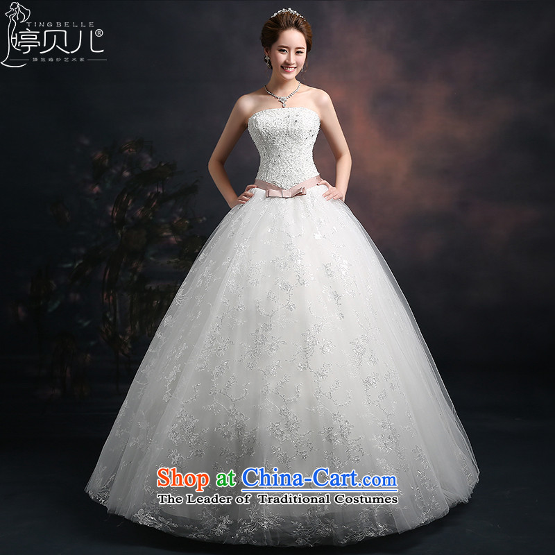Beverly Ting 2015 new spring and summer wedding dress autumn Korean fashion and to align the chest wedding large tie princess bon bon skirt White聽XL