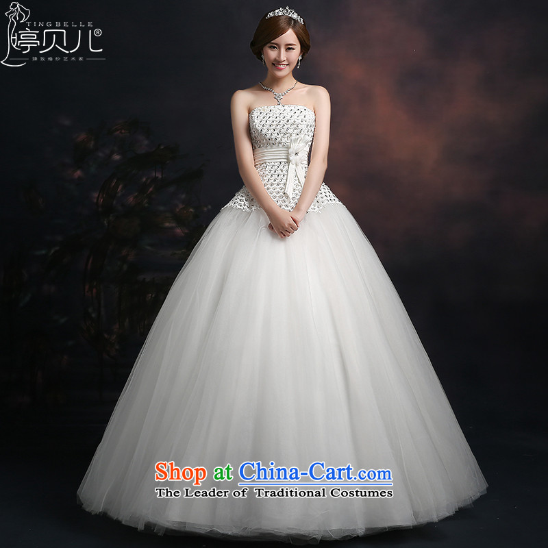 Beverly Ting wedding dresses 2015 new spring and summer and chest diamond wedding foutune straps Korean large stylish wedding alignment of the funds from the white?M