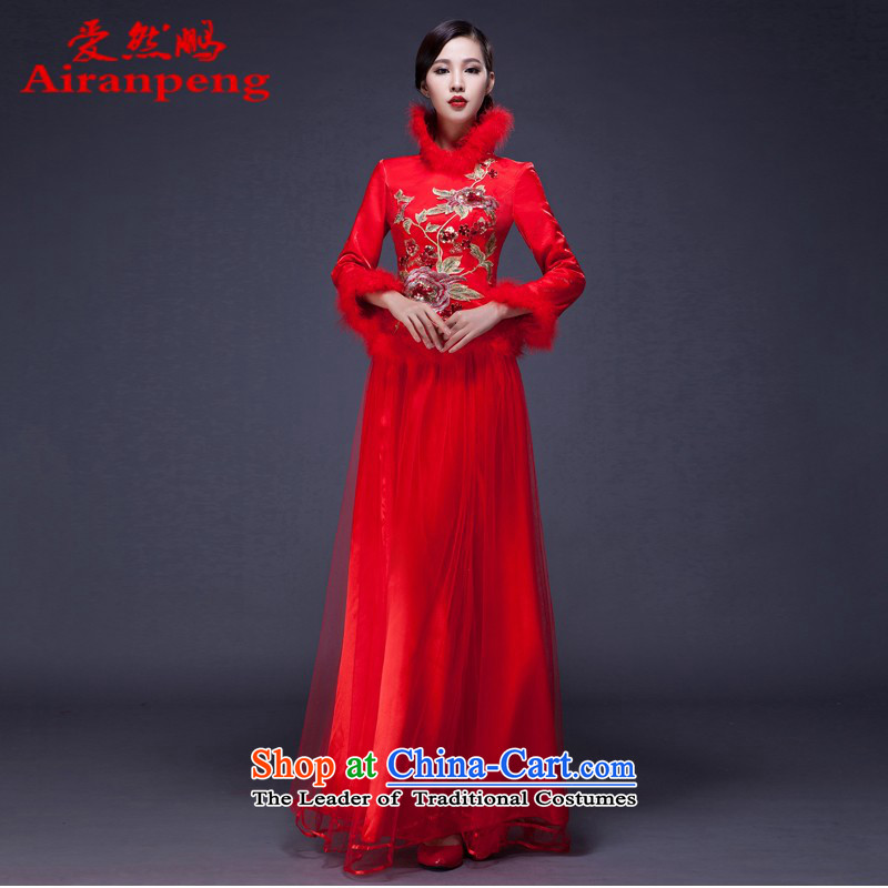 2014 Long Red Dress improved qipao winter of marriage cotton waffle wedding dresses bride long-sleeved bows to the size of the customer to be refunded
