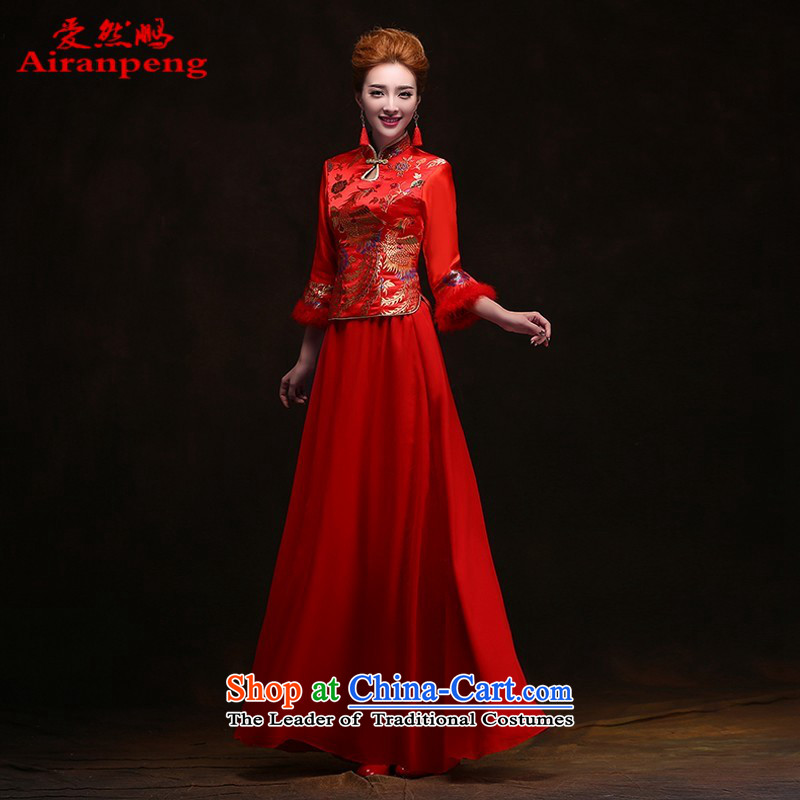 Winter cheongsam bows services 2014 new bride stylish wedding dresses wedding red marriage long retro women clients to do not returning the size to