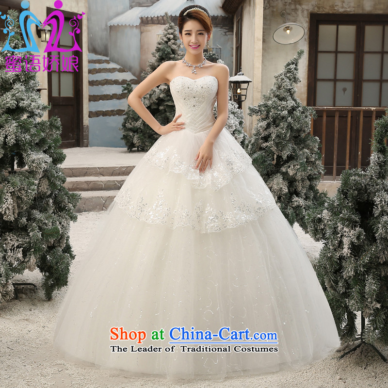 Talk to Her Wedding 2015 new Korean fashion, wiping the Chest straps video code thin diamond bride wedding dress custom thick mm wedding White聽XL