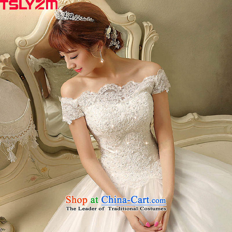 The first field shoulder wedding dresses new 2015 autumn and winter Korean stylish and elegant marriages to align bon bon skirt out of courtesy yarn Foutune of video thin Satin White?M