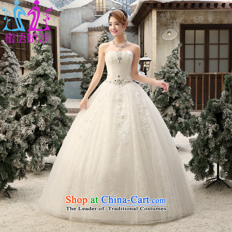 Talk to Her Wedding Dress 2015 new Korean brides wedding lace flowers and chest straps to align graphics Sau San thin White XXL