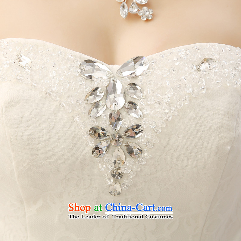 Talk to Her Wedding Dress 2015 new Korean brides wedding lace flowers and chest straps to align graphics Sau San thin white honey words to wife XXL, shopping on the Internet has been pressed.