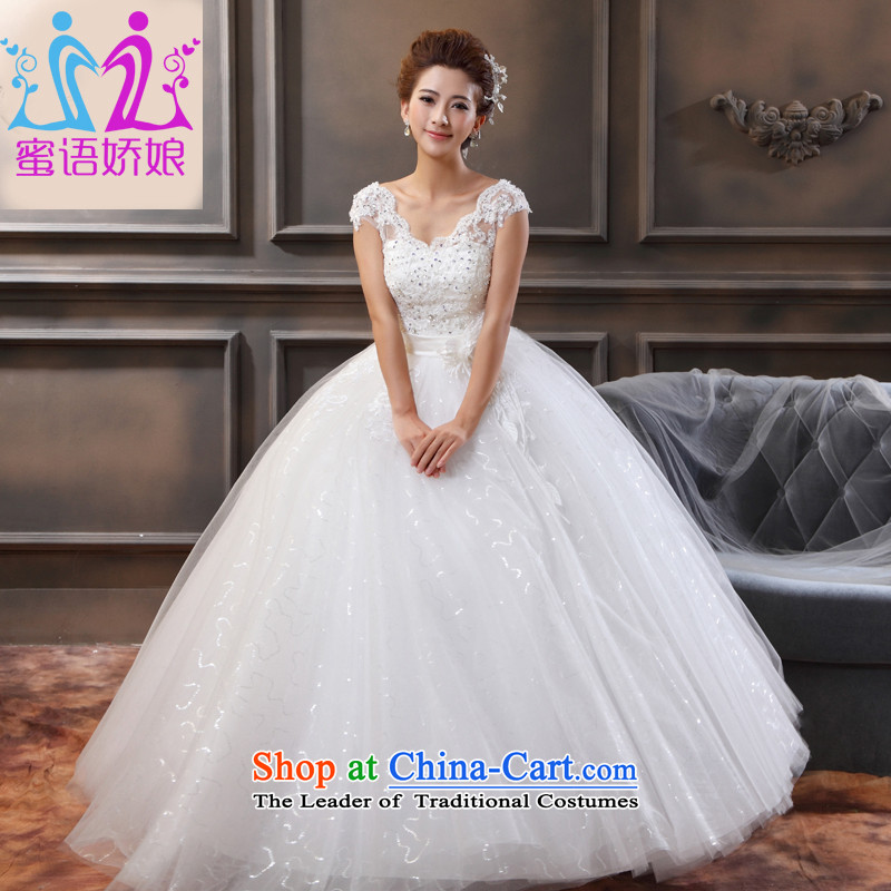 Talk to Her Wedding Dress 2015 new Korean version of large numbers of thin pregnant women Top Loin of graphics to align the white red marriages wedding thick mm white�XXXL Wedding
