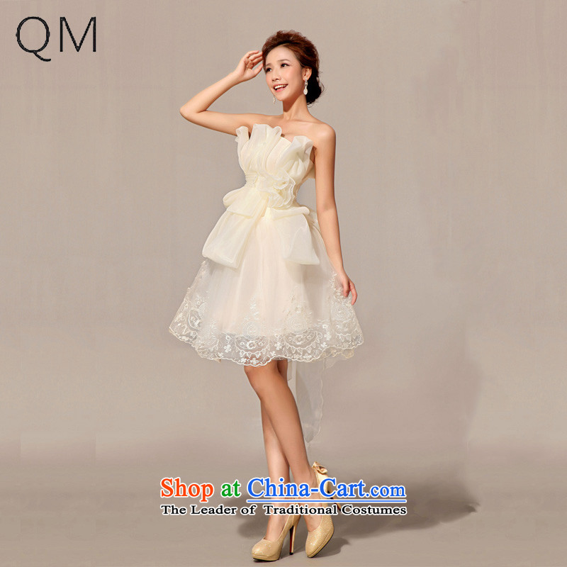 The end of the shallow bridesmaid dress uniform dress bows short, champagne color CTXLF49?M