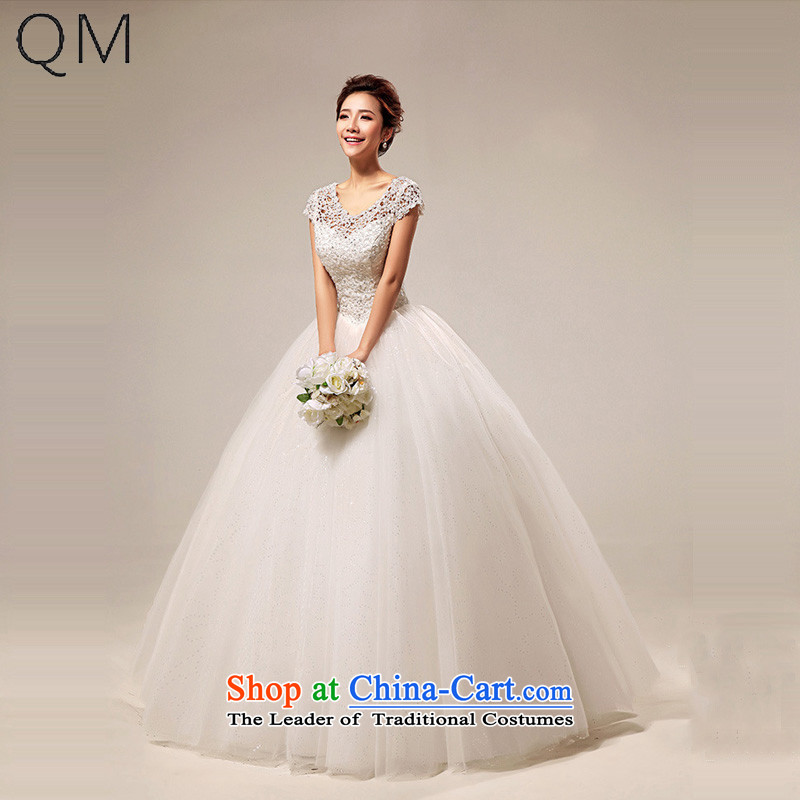 The end of the Korean version of the light field shoulder sweet lace princess sexy to align the wedding CTXHS290 m White?S