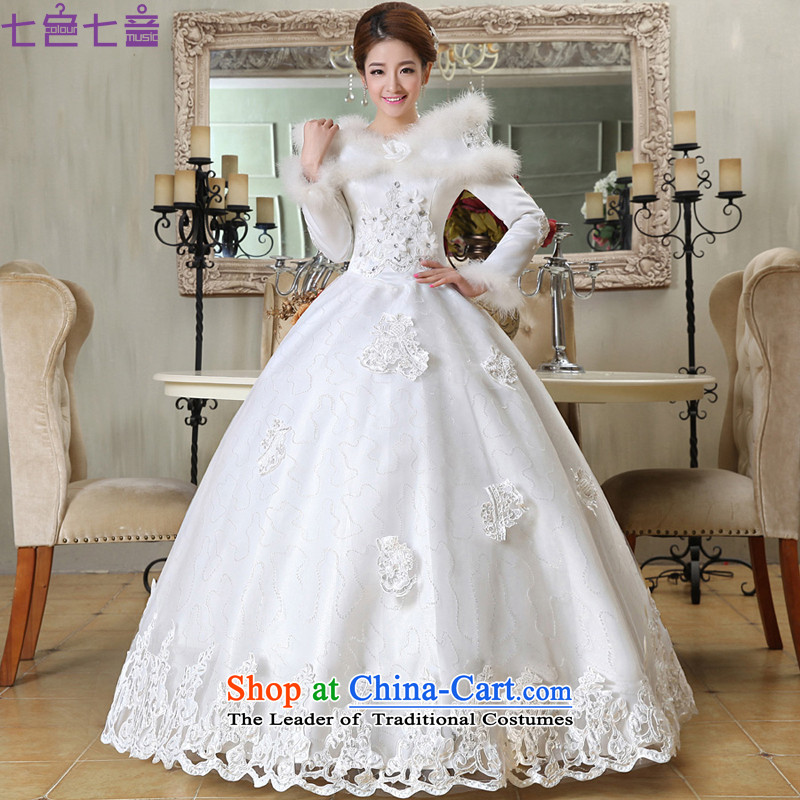 7 Color 7 tone Korean New 2015 winter clothing marriages a long-sleeved shoulder the cotton field winter wedding dresses?H053?White?M White