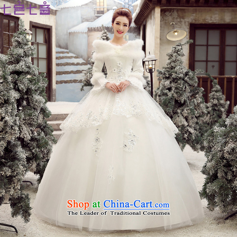 7 Color 7 tone won 2015 version of winter clothing new sweet princess plus gross cotton for long-sleeved winter) wedding dresses strap white?H055?White original?L