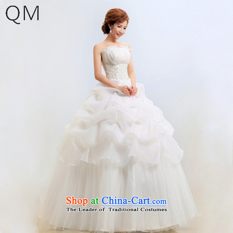 The end of the shallow wedding dresses and chest Korean Princess graphics thin wedding bride?CTX BK?m White?XXL
