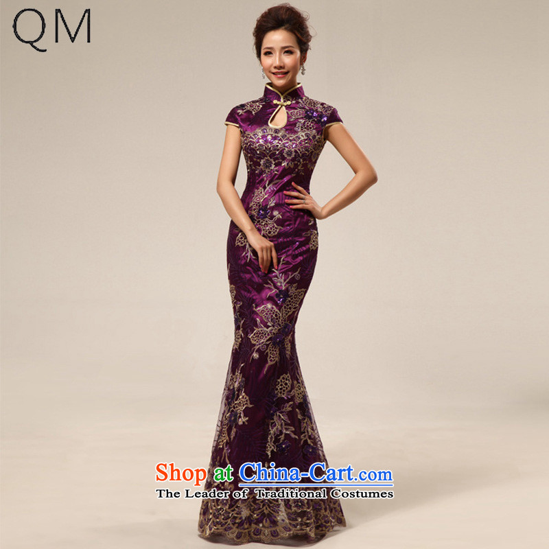 The end of the light of nostalgia for the marriage ceremony service improvement qipao Yingbin etiquette clothing cheongsam dress�CTX�stylish 67 purple�XXL