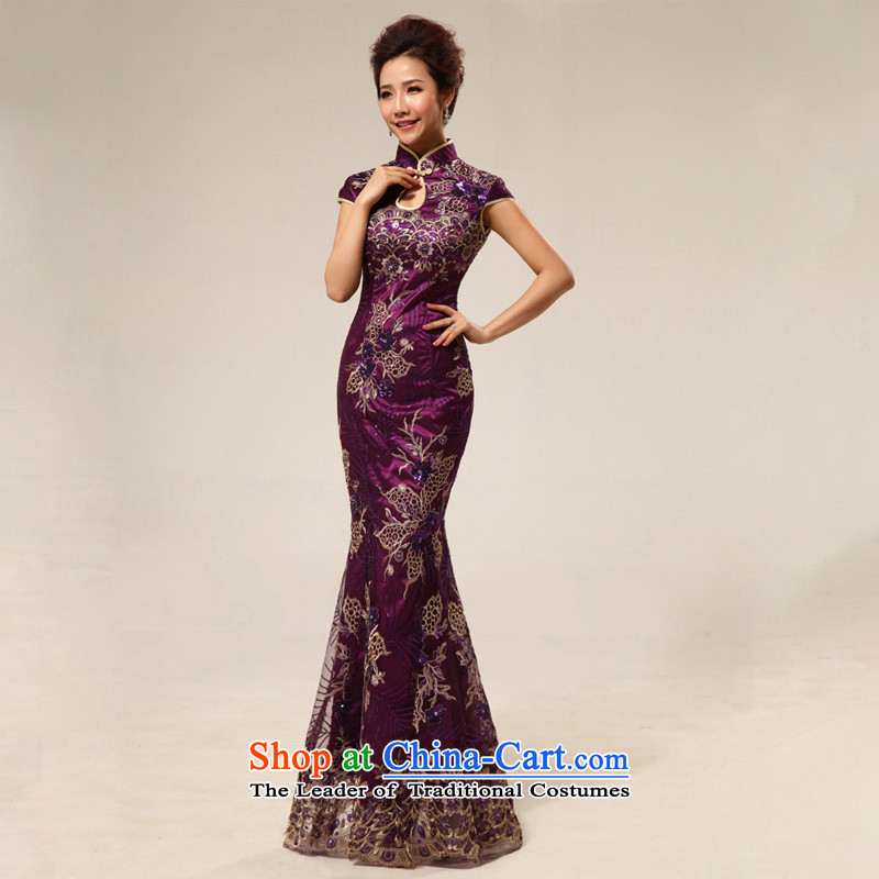 The end of the light of nostalgia for the marriage ceremony service improvement qipao Yingbin etiquette clothing cheongsam dress CTX stylish 67 Purple light at the end of , , , XXL, shopping on the Internet