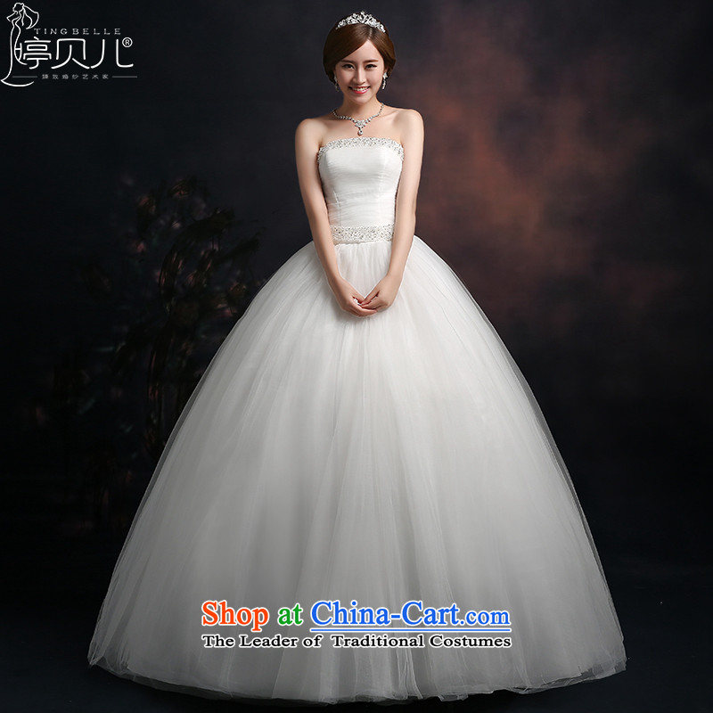 Beverly Ting anointed chest wedding autumn 2015 new Korean Sau San video thin wedding dresses diamond larger straps to align, white L