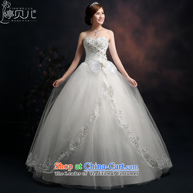Beverly Ting 2015 new wedding video thin autumn Korean wiped Sau San chest wedding dresses diamond larger straps to align, white聽L