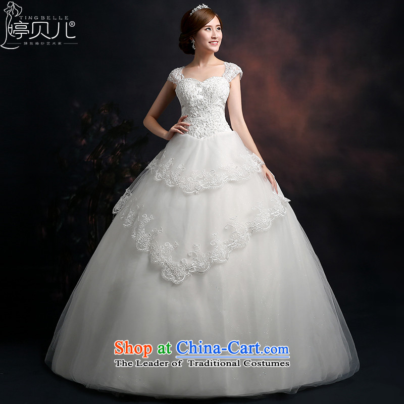 Beverly Ting wedding dresses 2015 new Korean word stylish shoulder wedding shoulders Sau San lace diamond larger alignment with White XL