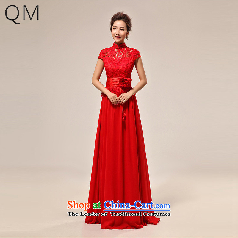 At the end of light wedding dress sexy qipao slotted shoulder red lace bride wedding dress�CTX LF133�RED�XXL