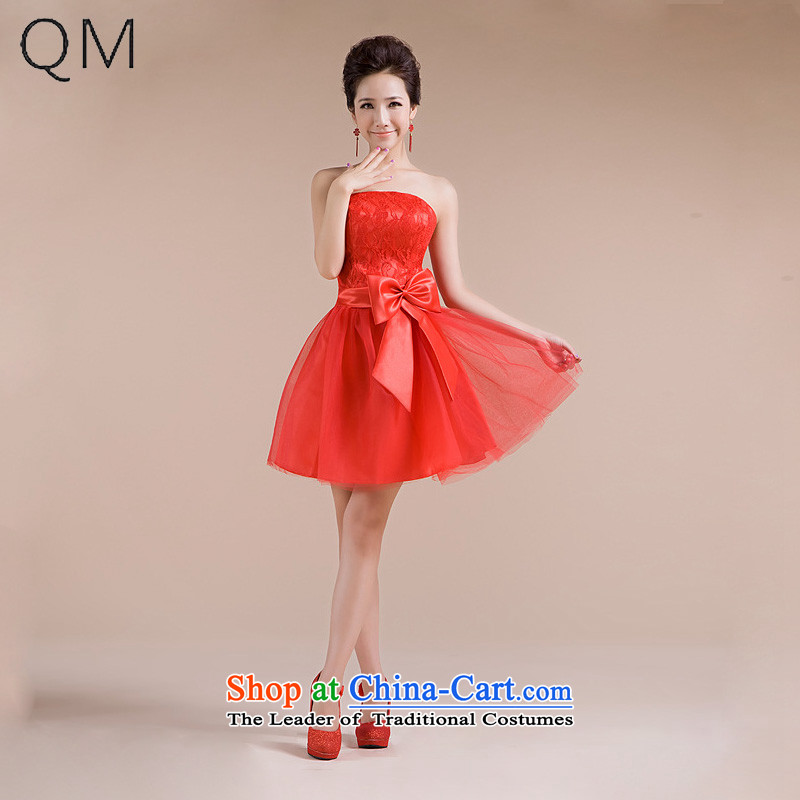 The end of the sister in light multi-colored sweet romantic wedding celebration for Sau San small dress bridesmaid skirt CTX LF-70 RED L