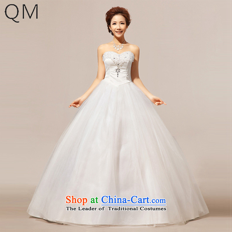 At the end of light depilation wedding bride chest crystal Korean wedding dresses?CTX HS238?m White?S