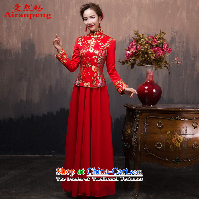 Red long gown 2015 Winter load new marriages bows services improved long-sleeved qipao retro winter clothing燲L package returning