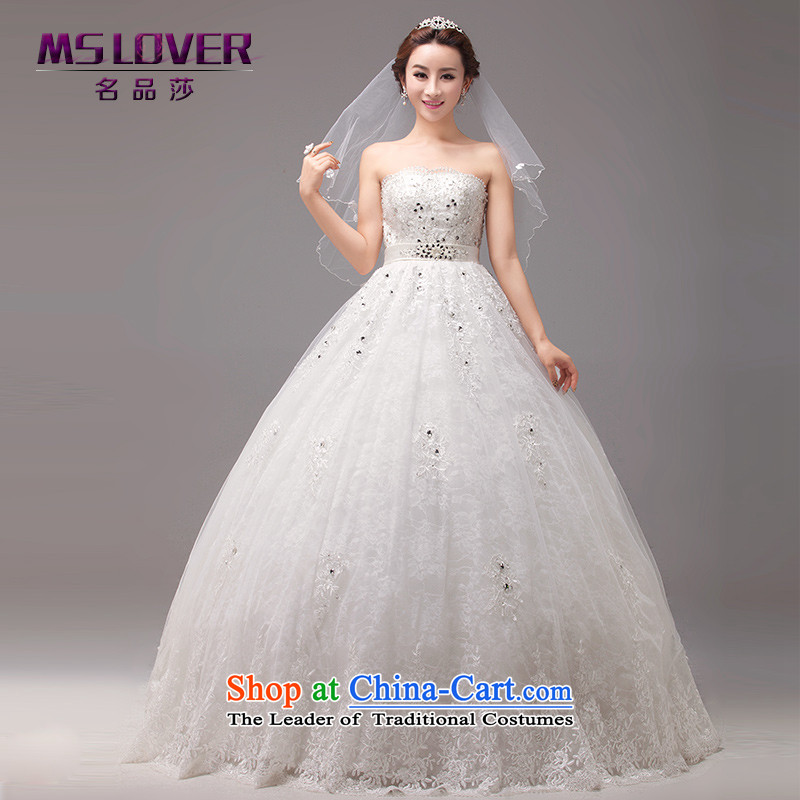 Mslover Korean style wedding bride and chest straps Pearl of the Staple manually align to wedding Top Loin of pregnant women wedding custom Wedding 0033 m White tailored - Contact Customer Service