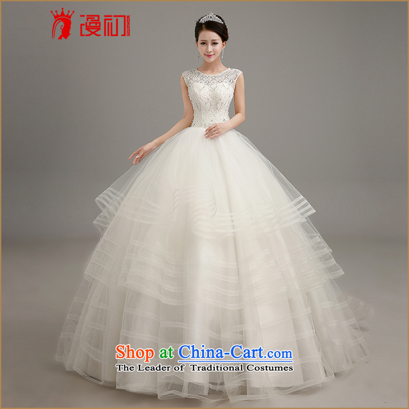 In the early 2015, wedding dresses new upscale Korean brides large tail wedding dresses a field to align the shoulder straps video thin white wedding to align the M code