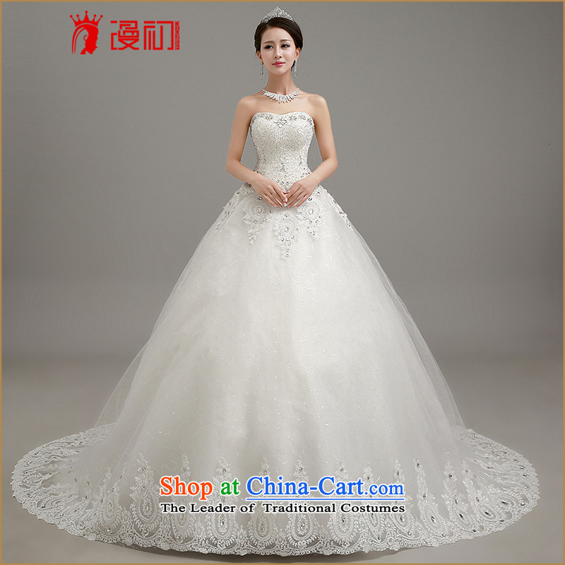 In the early 2015, Wedding Dress Korean anointed chest video thin tail wedding dresses align to bind with bon bon skirt wedding large white tail聽L code