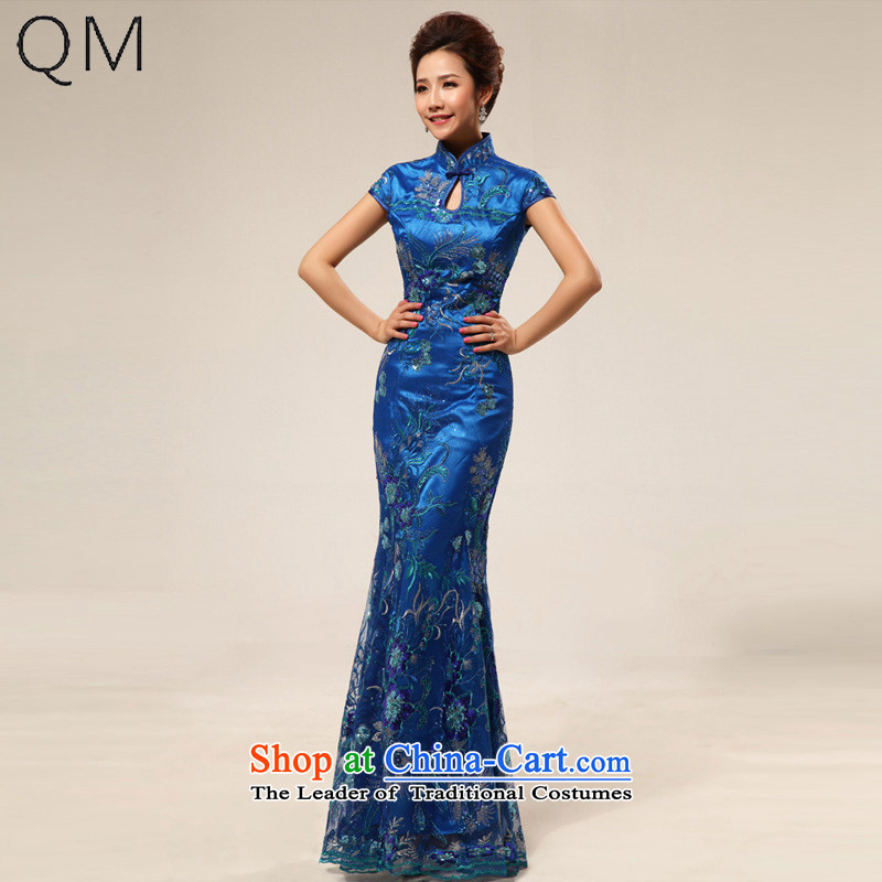 The end of the light of nostalgia for the marriage ceremony service improvement qipao Yingbin etiquette clothing CTX cheongsam dress 67 Blue?XXL