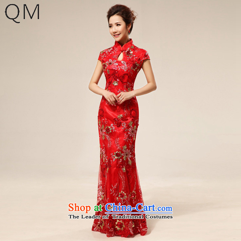 The end of the shallow marriages cheongsam dress stylish improved lace retro red�CTX QP64�RED�S