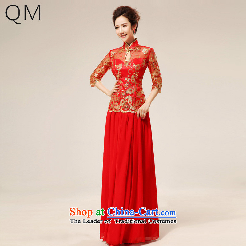 At the end of light and sexy lace marriages qipao stylish improvement cuff qipao�CTX QP75�RED�M