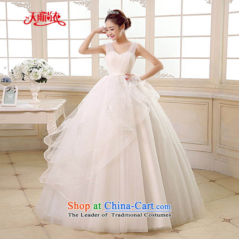 Rain-sang yi bride Wedding 2015 new wedding dress white shoulders stylish video princess thin large stapler alignment with the Pearl River Delta wedding HS891 white�L