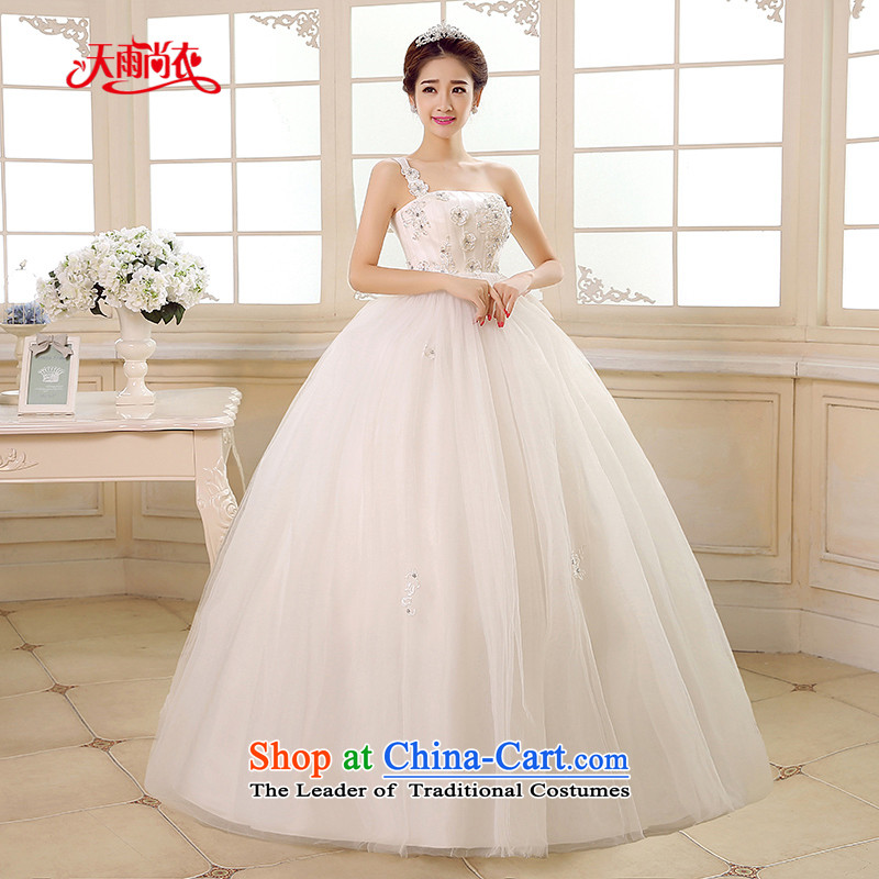 Rain-sang yi 2015 new bride wedding dress white princess shoulder stylish graphics large thin pregnant women high wedding HS892 waist White M