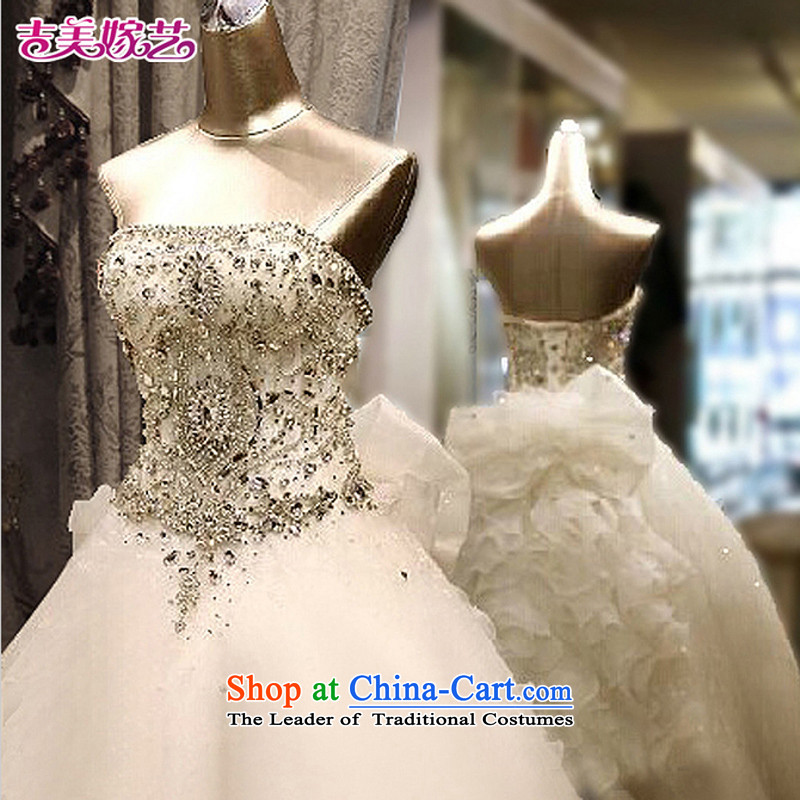 Pre-sale - American married arts wedding dresses 2015 new Korean anointed chest video thin crystal drill tail 7660 bride wedding聽1m tail聽S