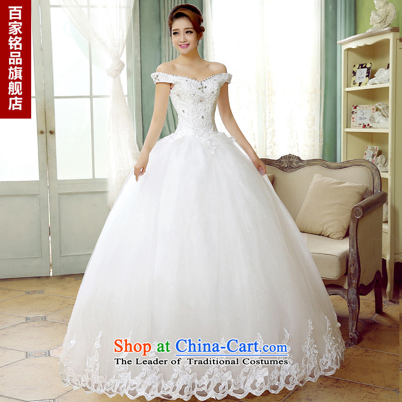 Wedding dresses full manual diamond new Word 2015 stylish shoulder Princess Korean autumn and winter, shoulder package wedding white made Size 5-7 day shipping