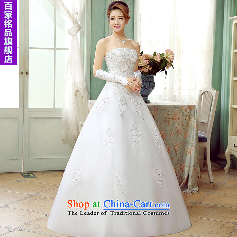 Wedding white�2015 autumn and winter new Korean sweet diamond wiping the chest to align the Princess Bride lace tie A field petticoats wedding white�S