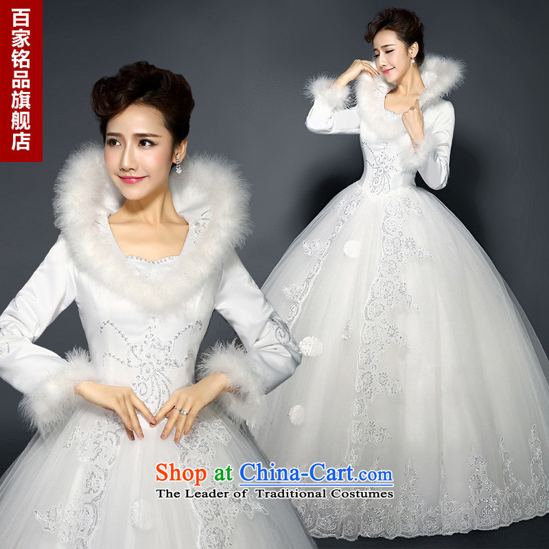 The new 2015 Spring New Wedding Korean version of V-neck collar align to long-sleeved gross word bride shoulder for winter wedding clip cotton code Foutune of video thin White�XXL