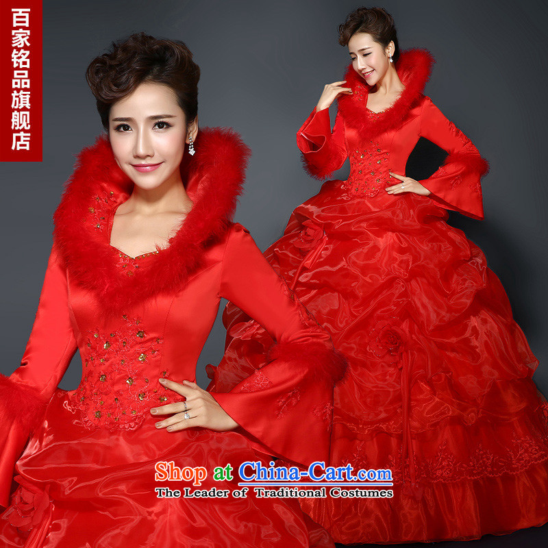 Red Winter) Wedding�2015 new stylish red winter plus long-sleeved thick cotton wool for large video thin winter wedding RED�M