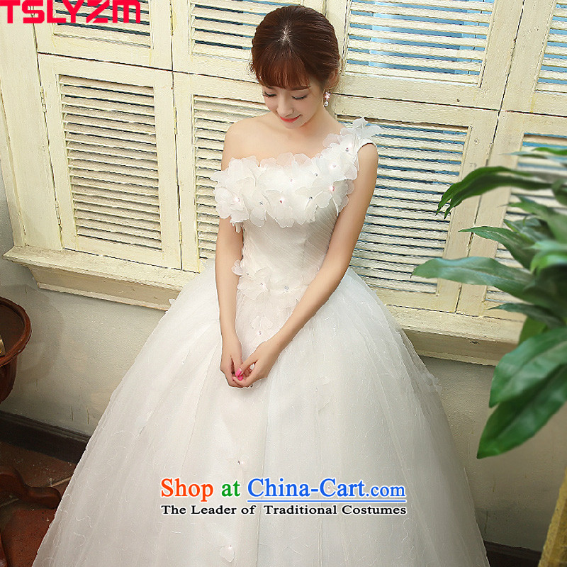 Shoulder bride tslyzm wedding dresses 2015 new autumn and winter Korean sweet flowers Beveled Shoulder graphics thin diamond jewelry wedding dress out bon bon yarn white?S