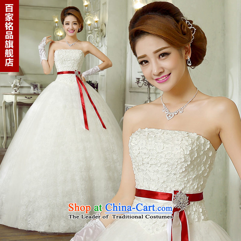 Wedding white romantic Rose Petal 2015 new stylish Sweet flowers bride Sau San Foutune of graphics and chest with thin wedding dress White聽XL