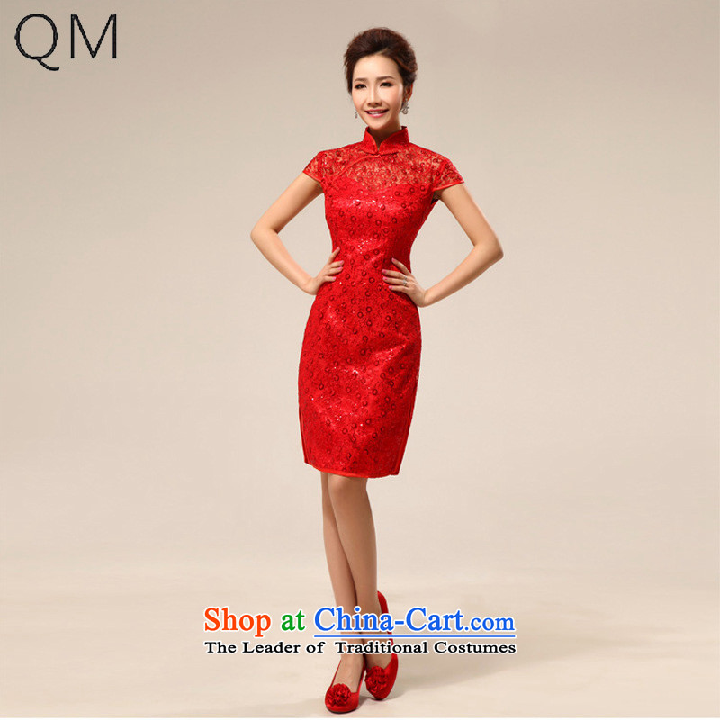 The end of the light _QM_ package shoulder stylish improved short transparent lace marriages cheongsam dress CTX RED M
