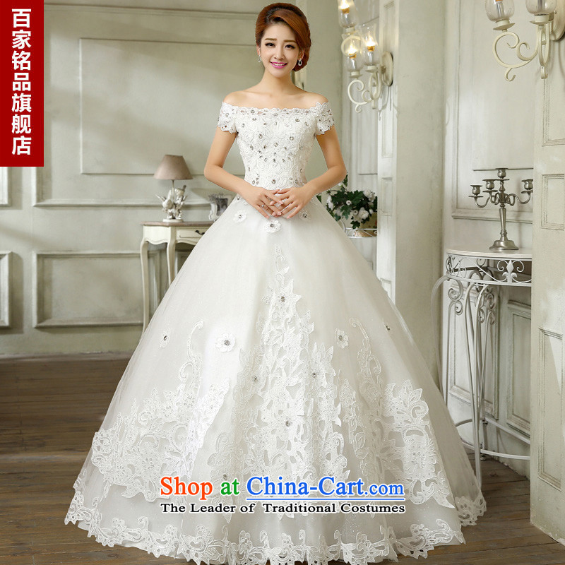 Wedding dress 2015 new Korean fashion lace diamond shoulders a field to align the shoulder wedding Korean Sau San bon bon skirt White聽XL