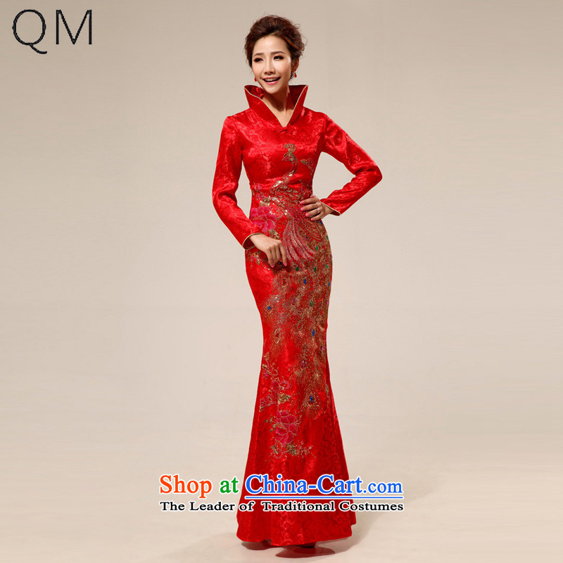 The end of the light (QM) red retro style improvement lace l marriages qipao�CTX QP69�RED�M