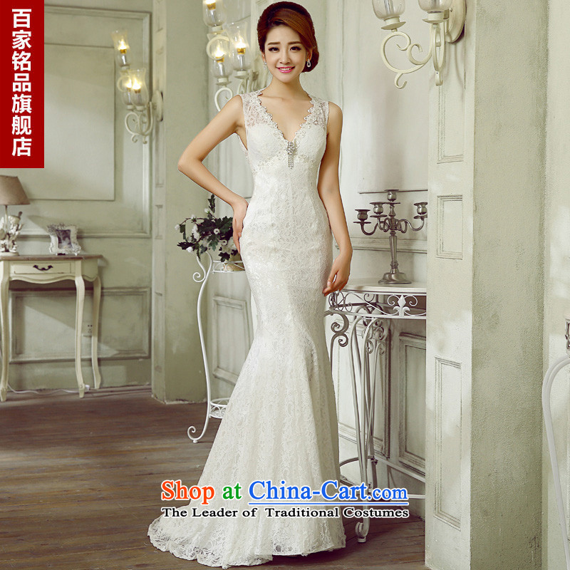 Wedding dresses the Word 2015 Korean brides shoulder the new shoulders V-neck and sexy back Sau San Foutune of small white streaks crowsfoot wedding white Custom Size 7 day shipping