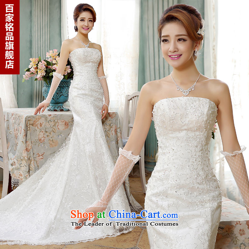 Wedding dresses new stylish Korean 2015 minimalist wiping the chest straps foutune crowsfoot video thin sexy tail wedding wedding dress autumn and winter, white S demand 5-7 day shipping