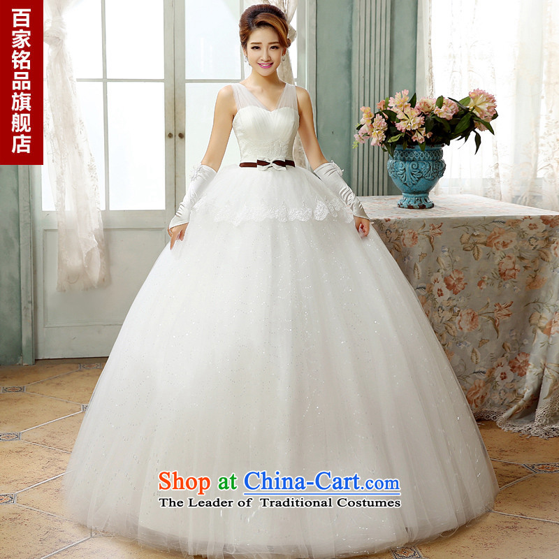 The Korean version of the new 2015 wedding to align graphics thin Korean minimalist bow tie a field shoulder deep V-neck strap to align the bride wedding dresses White聽M