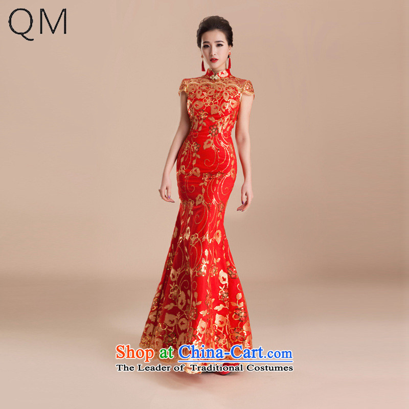 The end of the light (QM) wedding services qipao married bows evening dress retro crowsfoot long red bride�CTX QP80�RED�M