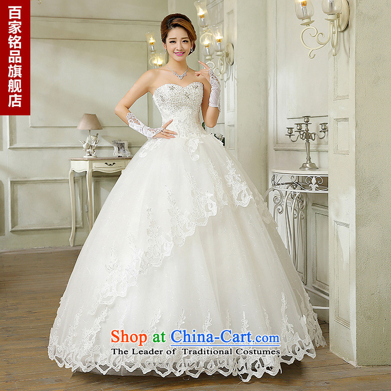 Wedding dresses new 2015 autumn and winter Korean fashion Foutune of diamond wipe off-chip lace bride chest to align graphics thin white wedding dress White M bon bon
